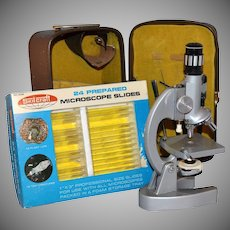 1960/70s Jason ~ Microscope w/ Dissecting Tools, Case & Slides