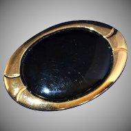 Napier ~ Large Black Oval Goldtone Brooch/Pin