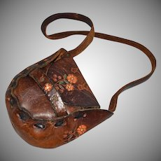 1960s Rare Hippie Flower Tooled Leather Child's Purse