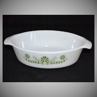 1970s Jeannette Glass ~ Green Daisy Oval Milk Glass Casserole Dish