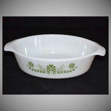 1970s Jeannette Glass ~ Green Daisy Oval Milk Glass Casserole Dish