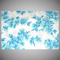 Perma-Prest ~ Blue Flower Twin Flat Sheet