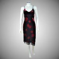 Dawn Joy ~ Deco-Inspired Black Velvet Red Rose Fringe Dress