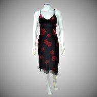 Dawn Joy ~ Deco-Inspired Black Velvet Red Rose Fringe Dress