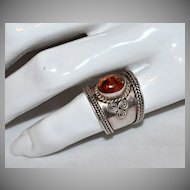 Sterling Silver & Baltic Amber Wide Band Ring