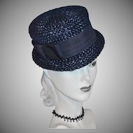 1960s Navy Blue Raffia Hat w/ Grosgrain Bow Trim