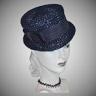 1960s Navy Blue Raffia Hat w/ Grosgrain Bow Trim