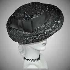 Union-Made Black Raffia Hat w/ Rolled Brim