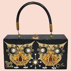 1970s Enid Collins of Texas ~ 'Night Owls' Black Wood Box Purse