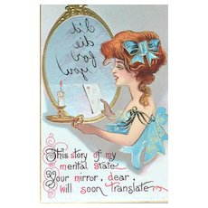 """1911 """"I'll Die For You"""" Embossed Color Postcard"""