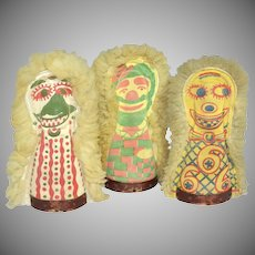 1940s Amazing Set of 3 Carnival Punk Dolls