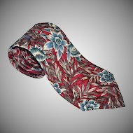 Oscar de la Renta ~ Blue Flower Crimson Red Tie