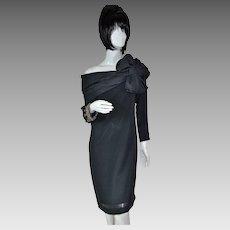 1950s Lilli Diamond ~ Rhinestone & Beaded Off-the-Shoulder w/ Huge Bow Black Dress