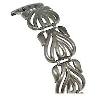 1970s Gothic Mexican Motif Wide Silvertone Link Bracelet