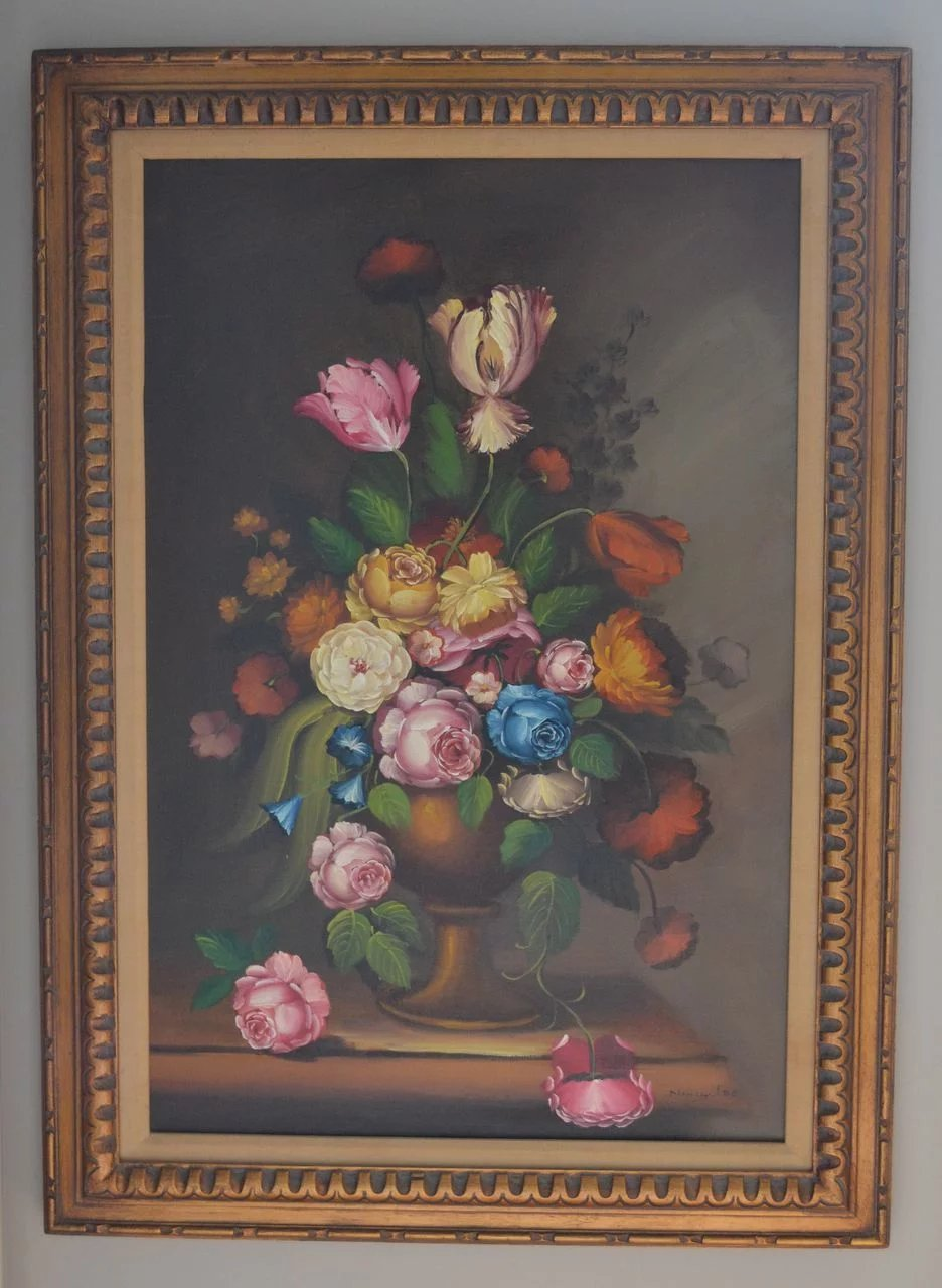 Nancy Lee Signed Massive 43 Quot Still Life Vase Of Flowers