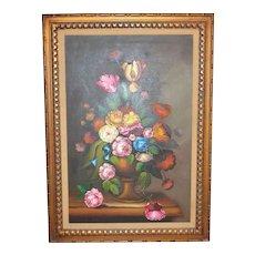 """Nancy Lee Signed Massive 43"""" Still Life Vase of Flowers Framed Oil Painting"""