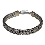 30G Sterling Mexican Style Thick Weave Design Bracelet