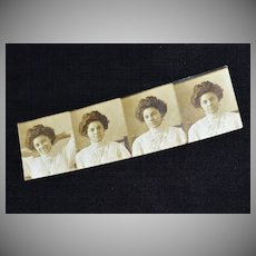 Pretty Edwardian Woman Authentic Photo Strip