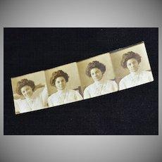 Pretty Edwardian Woman Authentic Photo Strip