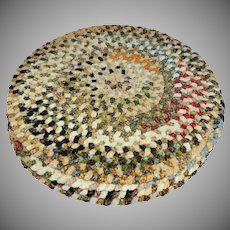 1970s Unusual Set of 4 Carpet Chenille Hand-Sewn Round Placemats