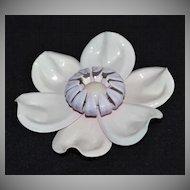 Large & Bizarre White Enamel Flower Pin/Brooch