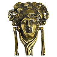 Antique English Brass Bacchus or Dionysus Figural Doorknocker