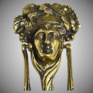 Antique English Brass Bacchus or Dionysus Figural Doorknocker