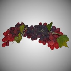"""Amazing 15"""" Long Cluster of Naturalistic Artificial Red & Purple Grapes"""