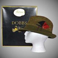 1960s Dobbs ~ Olive Green Suede Fedora w/ Original Box