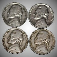 1939-1942 Set of 4 Thomas Jefferson U.S. American Nickels