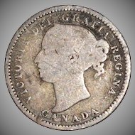 1888 Silver Canadian 10 Cents Coin