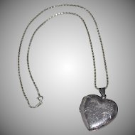 Large Sterling Etched Heart Double-Sided Locket Pendant with Chain