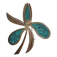 Miguel Garcia Martinez ~ Sterling & Spiderweb Turquoise Stylized Flower Pin/Brooch