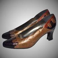 1960s Margaret J ~ Gold & Copper Brown Studded Leather Heels