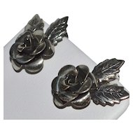 1950s Beau Sterling Silver Rose Screwback Earrings