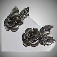 1950s Beau Sterling Silver Rose Screwback Earrings