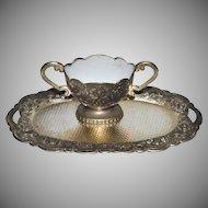Child's Silverplate Tea Tray & White Enamel Sugar Bowl
