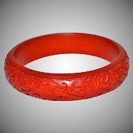 Carved Red Cinnabar Bangle Bracelet