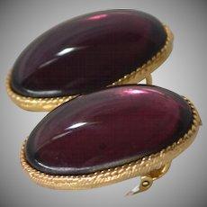 1950s Large Purple Cabochon Leverback Pierced Earrings