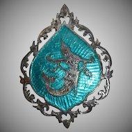 Siam Sterling Mermaid Blue Enamel Niello Brooch/Pin