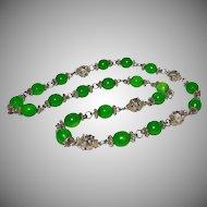 Emerald Green Peking Glass Bead Necklace