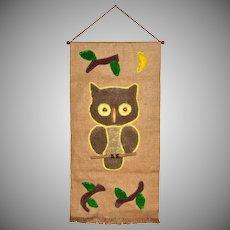1970s Owl Macrame & Burlap Wall Hanging Decor