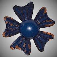 Distressed Midnight Blue Flower Brooch/Pin