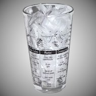 Libbey Tumbler Glass w/ Cocktail Recipes & Measurements