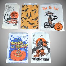Set of 5 Halloween Candy Trick or Treat Paper Bags