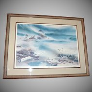 1979 William W. Steidel Haystacks on Cannon Beach Limited Edition Lithograph Framed Fantasy Art Print