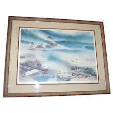 1979 William W. Steidel Haystacks on Cannon Beach Limited Edition Lithograph Framed Fantasy Art Print