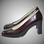 Ricaly ~ Chocolate Brown Two-Tone Leather Heels