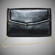 1960s Harry Levine Black Leather Clutch/Chain Purse