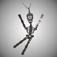 Large Articulated Skeleton Pendant Necklace